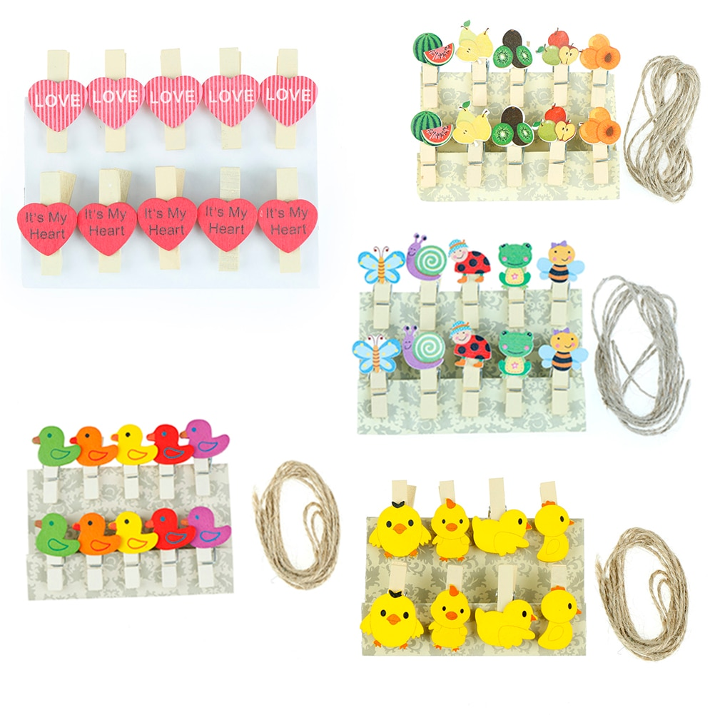 8/10pcs/pack Heart DUCK Fruit Annimal Shape Wood Clips Office Binding Decoration Supplies Heart Mini Wood Clothespin Clips