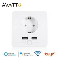 Умная настенная розетка AVATTO, 16 А, Евророзетка, Wi-Fi, работает с Google Home, голосовым управлением через приложение Alexa IFTTT Tuya Smart life