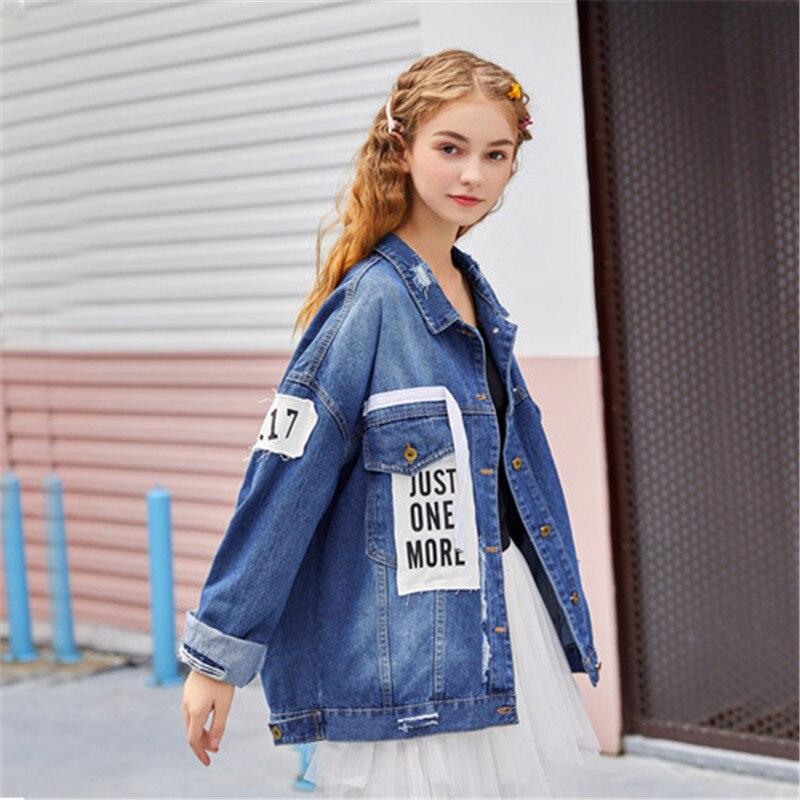 RUGOD élégant patchwork juste une plus lettre impression denim manteau femmes mode à manches longues poches jean veste cowboy jean manteau
