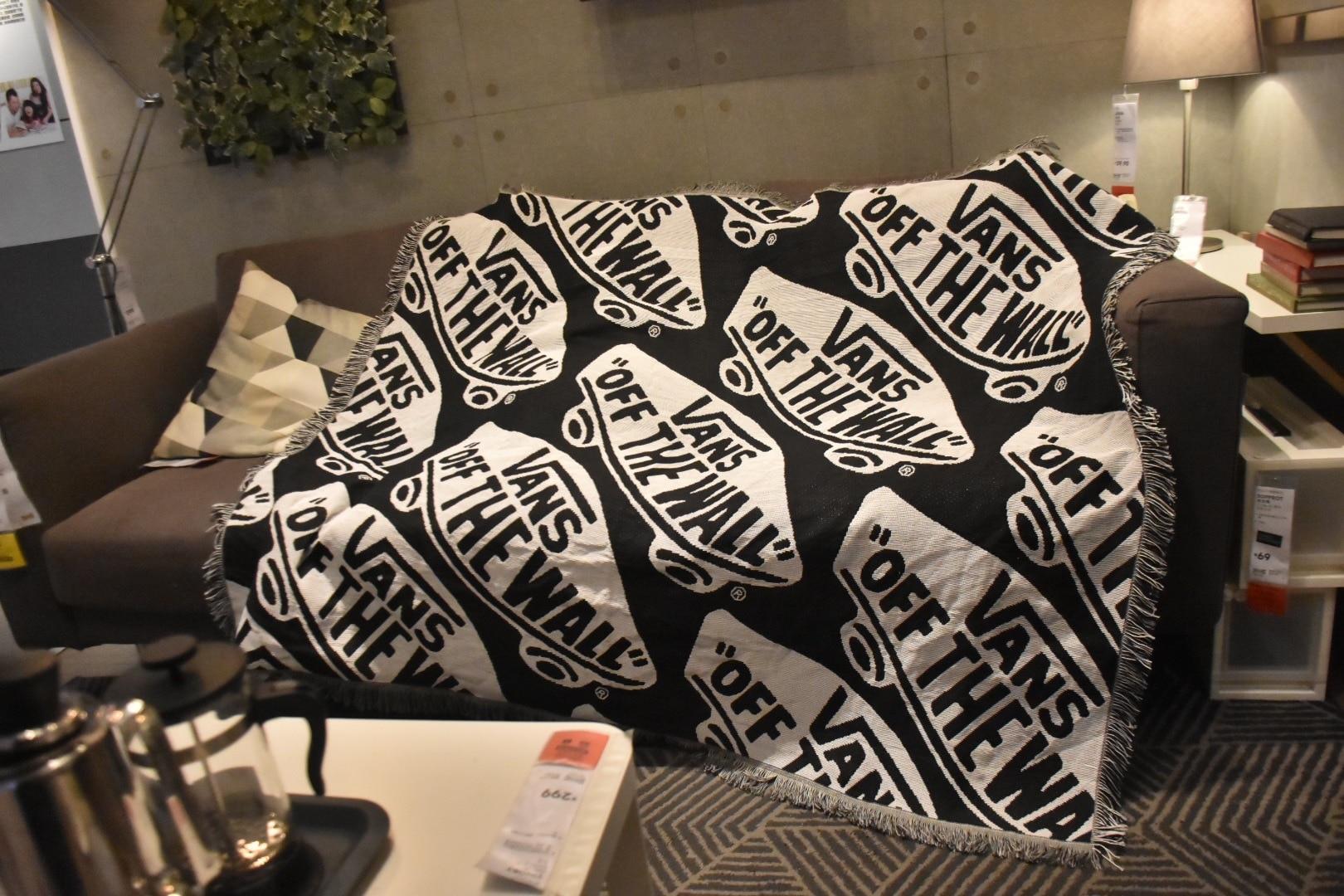 الأمريكية أسود أبيض عربات بطانية أريكة غطاء منشفة يلقي المنسوجات المنزلية معلقة نسيج