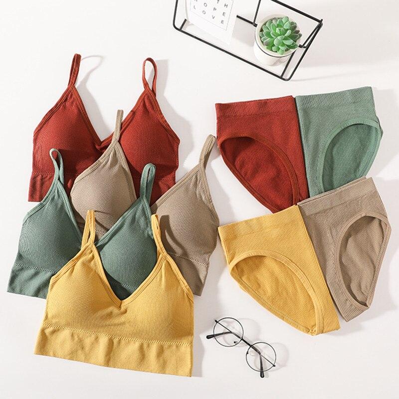 Women Bra Panties Set Backless Bralette Bra Female Crop Top Sexy Lingerie Activewear Bra Sport Bra Brief Seamless Underwear Set