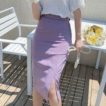 CMAZ Elastic Waist Tailored Skirt For Women Office Lady Summer Elegant Solid Knee Length Sexy skirts