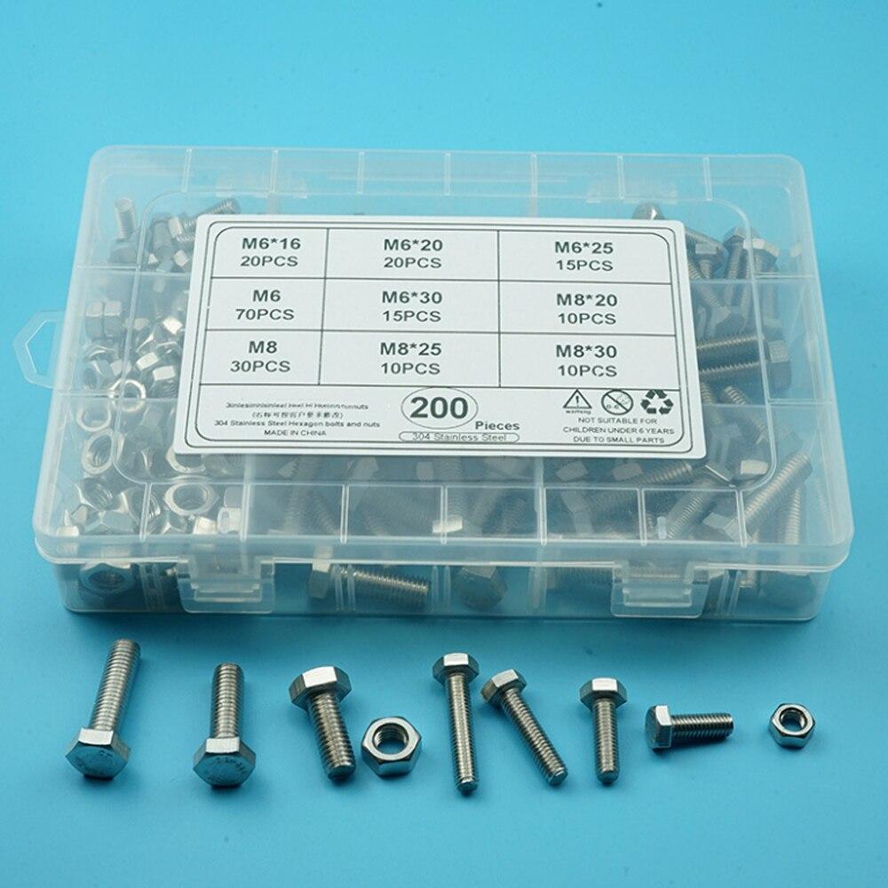 New 304 Stainless Steel Hexagon Screw Set 200pcs M6 M8 Hex Bolts and Nuts Assortment Set Hexagon Met
