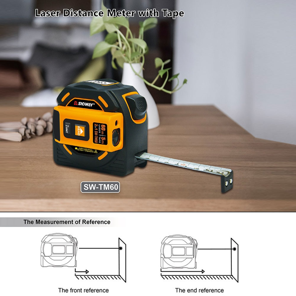 Herramienta de medición de distancia láser, telémetro láser de 40M, 60M, cinta métrica láser Digital retráctil, telémetro láser de 5m