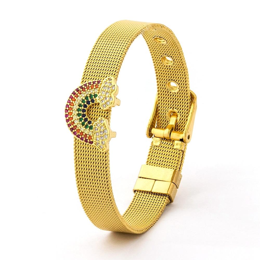 ¡Producto en oferta! Pulsera de malla de acero inoxidable para mujer, pulseras de oro Arco Iris, marcas de abalorios, correa de reloj de ancho, brazalete ajustable, joyería