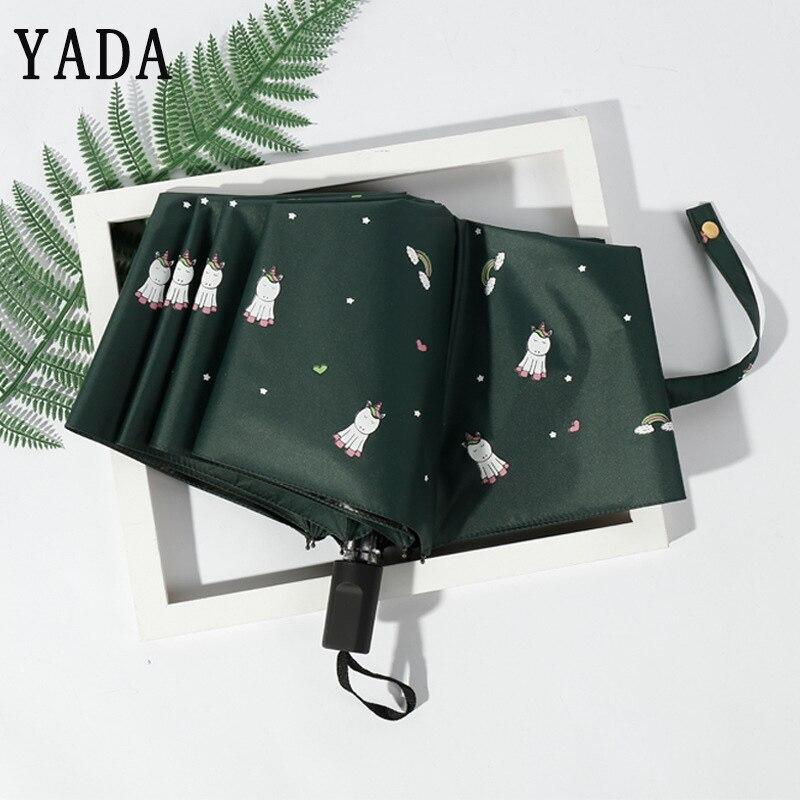 Unicórnio dos Desenhos Guarda-chuva para as Mulheres Dobrável à Prova de Vento Yada Novo Mini Animados Chuva uv Animal Unicórnio Crianças Guarda-chuvas Ys804 Ins