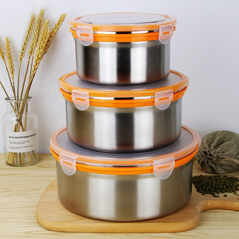 1-2.7L Large 304 Stainless Steel Food Storage Container BPA Free Camping Picnic Bento Box Worker Office Lunch Box Leakproof