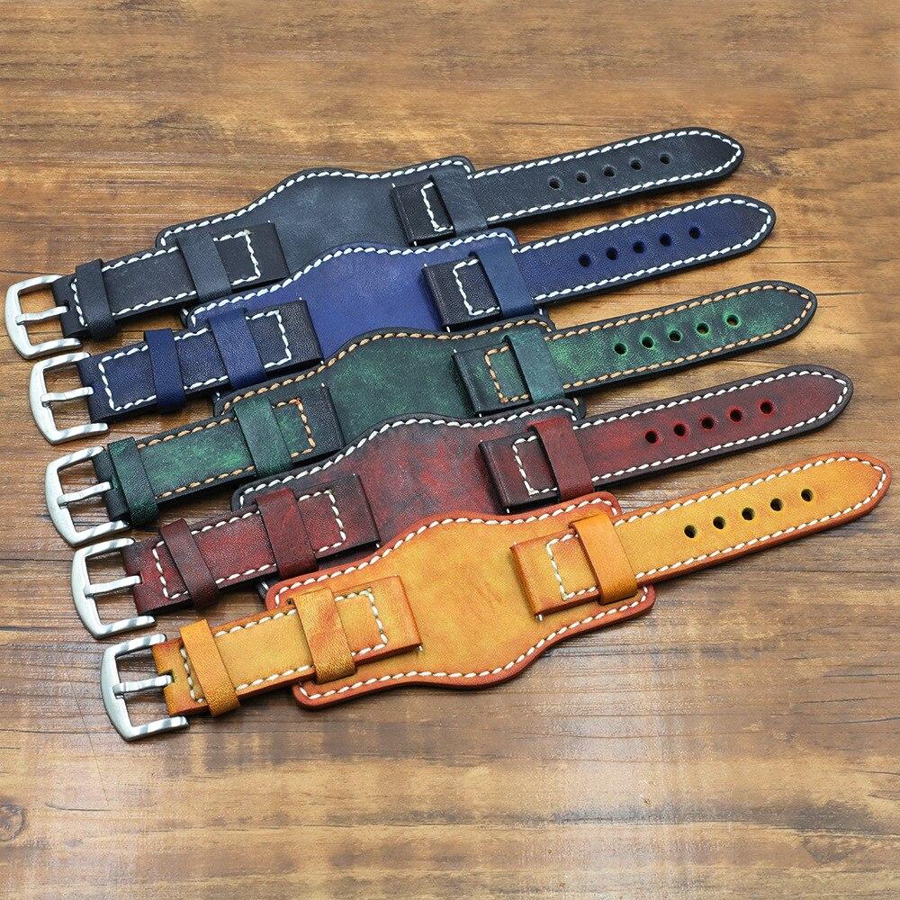 Correa de reloj de pulsera piel auténtica con estera protección de la muñeca 22mm 24mm hecha a mano Vintage de piel de vaca