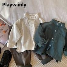 Baby Shirt 2021 New Korean style band collar Cotton Long Sleeve shirt coat Boys Girls Tops Baby Clot