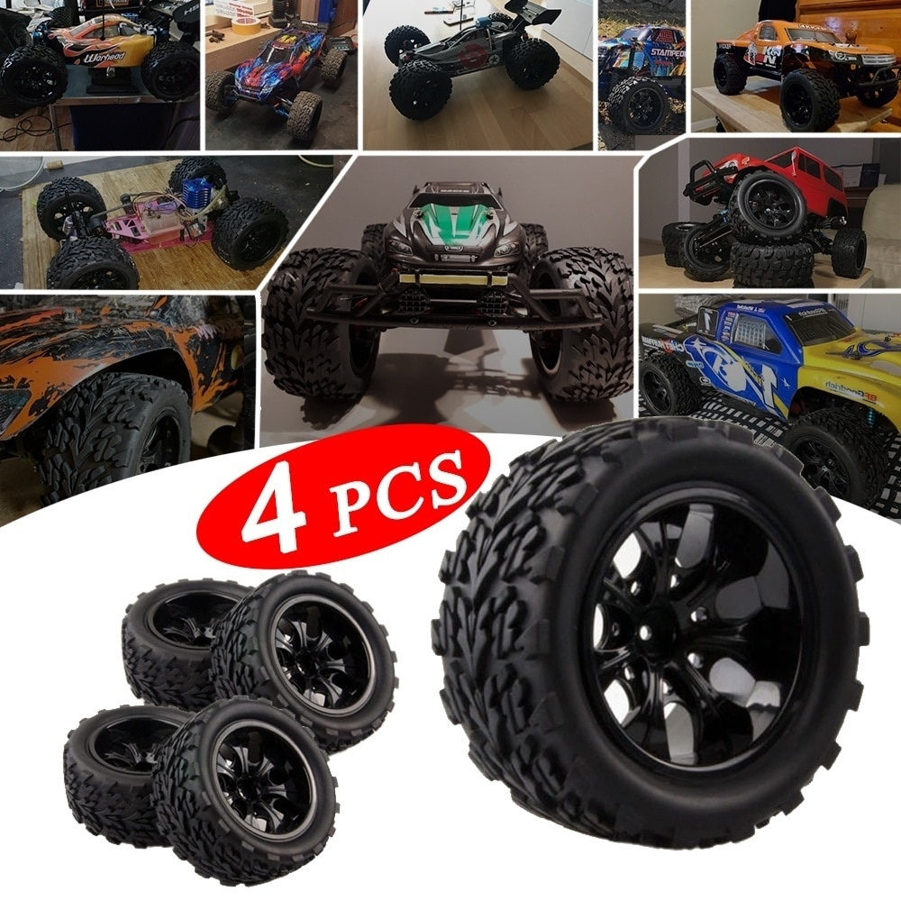High Quality Tyre Wheel Rim Big Truck Off-Road Car Tires Set for HPI HSP Traxxas 1:10 RC Monster Big