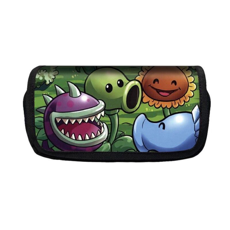 Estuche de lápices de poliéster con dibujos animados de plantas VS Zombie para niños y niñas, bolso de la escuela, bolso de la pluma de los niños, monedero, billetera