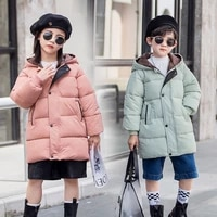 2021 new teenage children winter clothes hooded jackets for boys girls clothes warm down cotton coat thick russia parka school