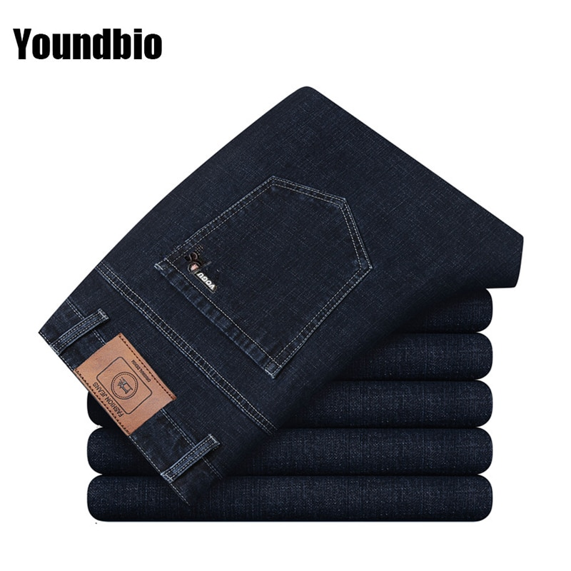 Men Jeans Loose Large Size Business Casual Stretch Slim Denim Trousers Fashion Brand Classic Trouser