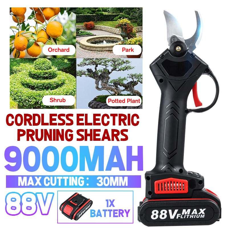 88 فولت اللاسلكي المقلم الكهربائية مقص تقليم الأشجار مع 9000mAh بطارية ليثيوم أيون كفاءة شجرة الفاكهة بونساي التقليم فروع القاطع