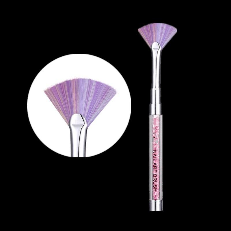 1 pc unha arte escova forro gradiente forma do ventilador rosa strass lidar com pó glitter pó remover caneta pintura 3d gel escova de unhas