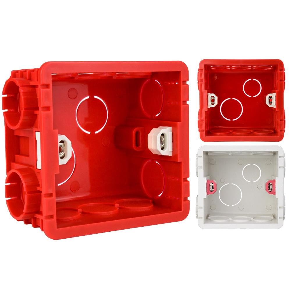 Blanco/Rojo/PVC interior caja para montaje en pared para 86 interruptor de pared hembra caja Universal caja de empalmes para WiFi táctil interruptor