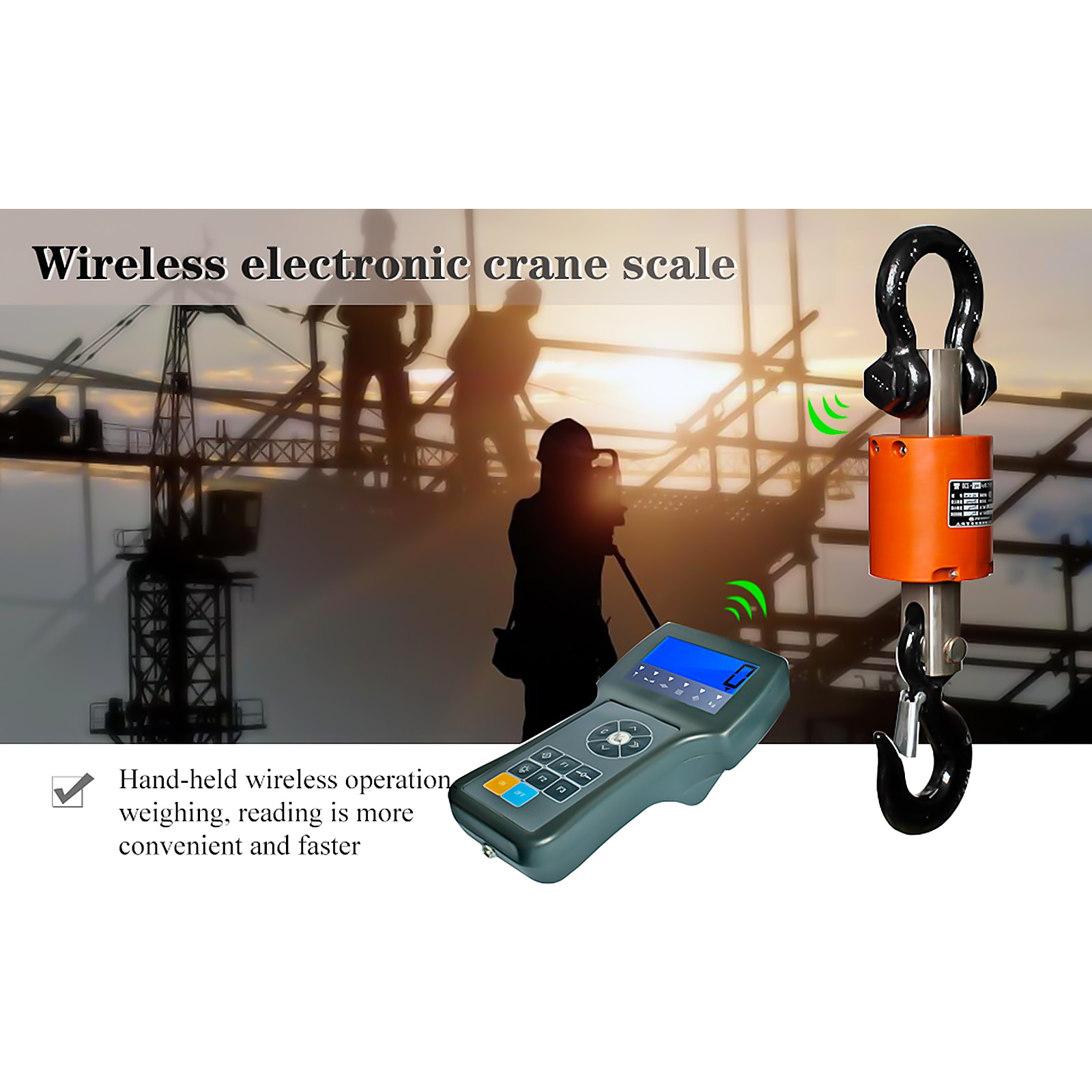 Factory direct sales 3t5T10 tons warranty for one year cylindrical wireless hook scale handheld instrument lifting scale enlarge