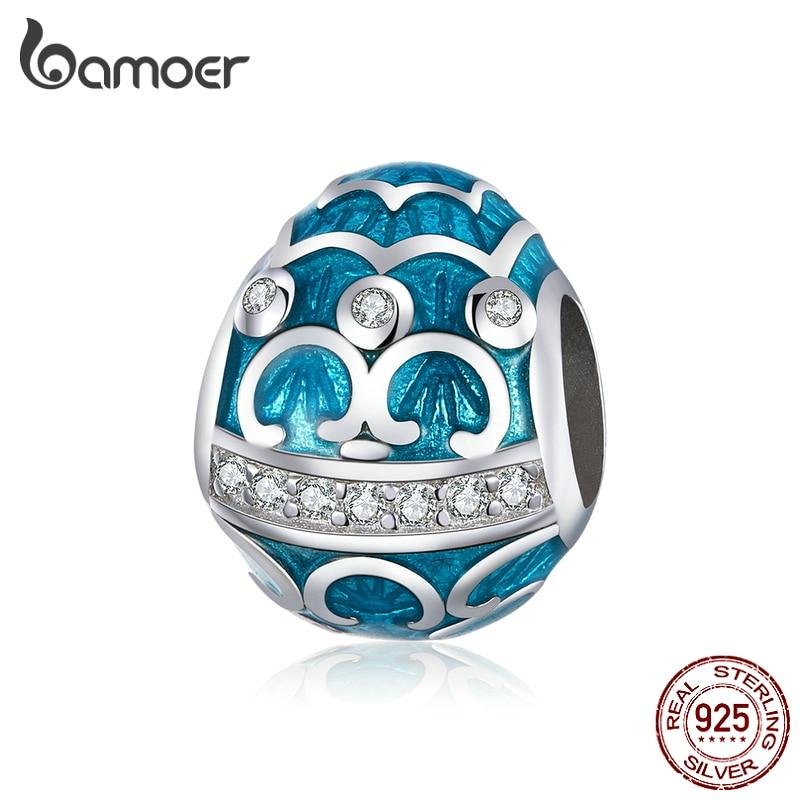 bamoer Easter Series Blue Egg Enamel Charm for Original Silver Bracelet & Bangle 925 Sterling Silver DIY Jewelry Bracelet BSC220