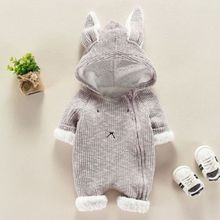 Baby Autumn Winter Clothes Toddler Babies Boys Girls Warm Rabbit Ears Hooded Romper Jumpsuit Outfits