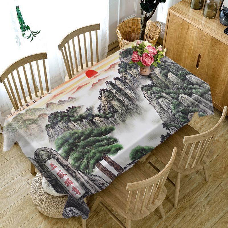 Mantel de estilo chino 3d, cascada y montañas altas, diseño de paisaje, lavable, espeso, mantel Rectangular para mesa de boda