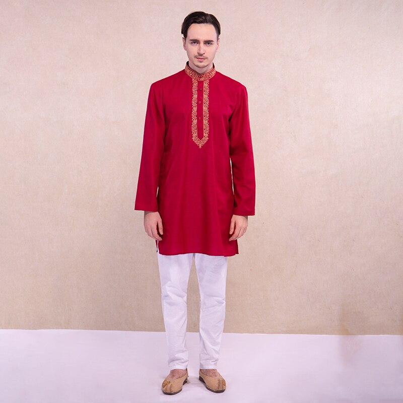 Vestido indiano para homens kurtas estilo tradicional kurti define 3 cores roupas hindus algodão kurtha roupas indianas