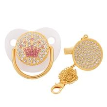 BLINGONLY-chupete con diamantes de imitación para bebé, sin BPA, dorado, ostentoso, con Clip de cadena
