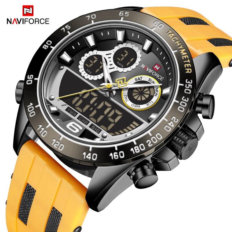 NAVIFORCE رائع ماركة ساعات بعقارب كبيرة الرجال مقاوم للماء الجيش العسكرية الرقمية الكوارتز المعصم سيليكون أصفر اللون ساعة الذكور 2021 جديد