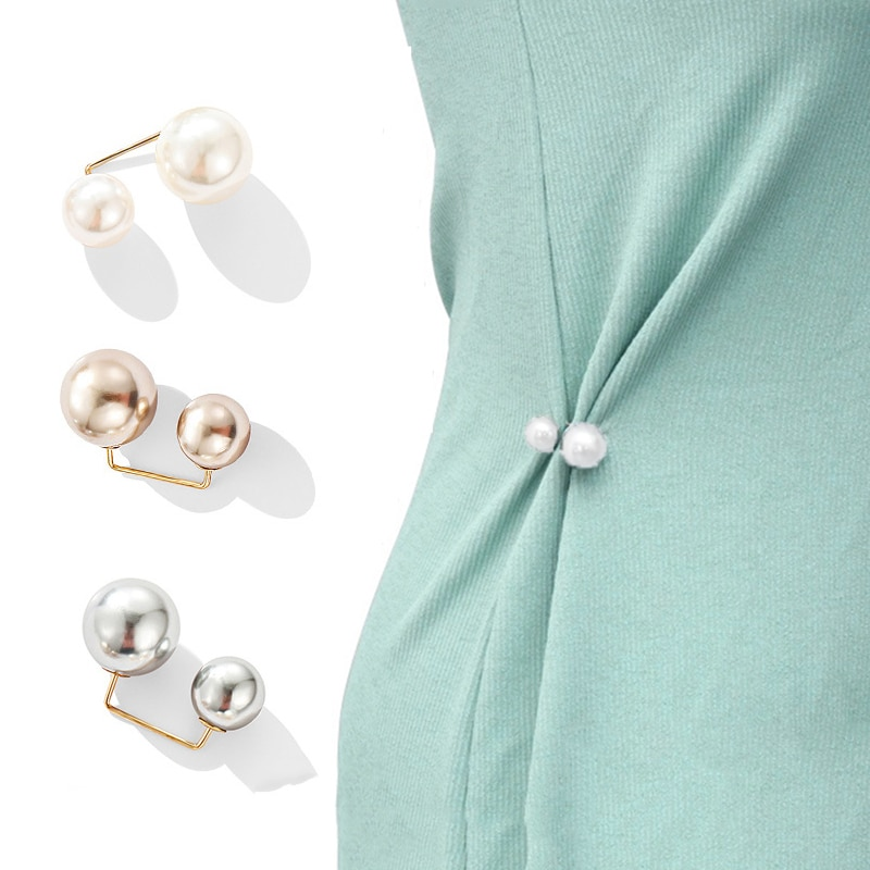 2 Pcs/set Fashion Brooch Double Pearl Brooches for Women Metal Lapel Pin Brooch Pins Sweater Shirt Cardigan Brooch Accessories