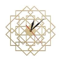 Geometry Square Wall Clock Polygonal Mandala Wooden Clock House Wall Decor Scandinavian Modern Wall Art Rustic Silent Home Clock