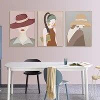 Nordique peinture abstraite mode fille mur Art affiche minimalisme toile peinture salon decoration de la maison photo sans cadre