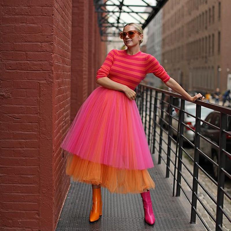 شيك 2 مختلط اللون تول تنورة للنساء الطبقات الطبقات الشاي طول منتصف العجل حفلة موسيقية تنورة عالية الشارع موضة Saia Faldas