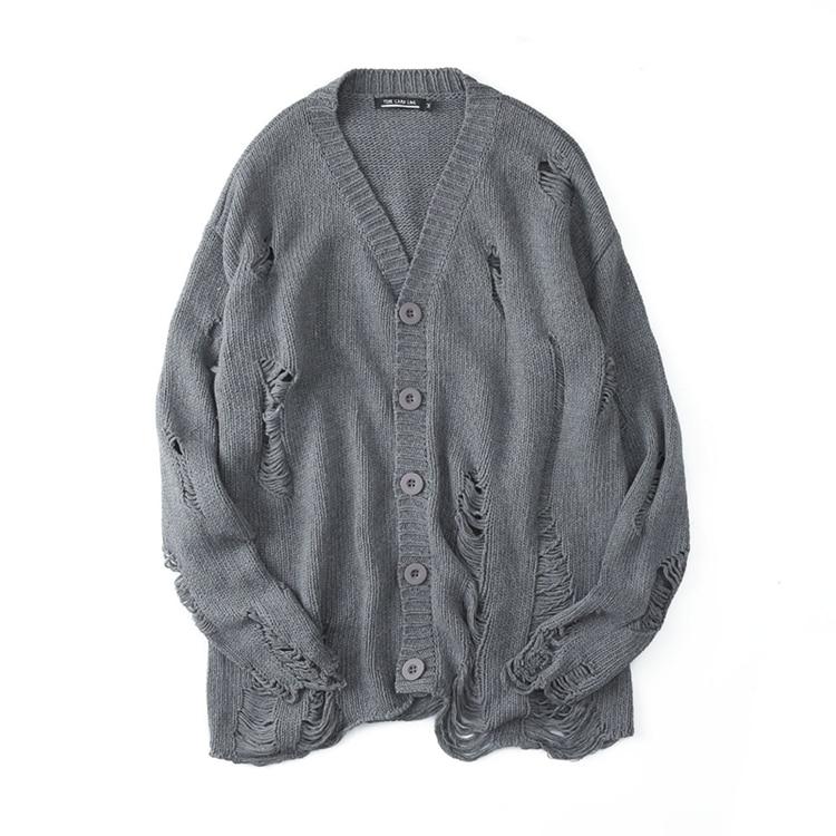 سترة منسوجة عتيقة للرجال ، ملابس كبيرة الحجم بتصميم غير منتظم بنمط الهيب هوب ، بانك ، مجموعة خريف وشتاء