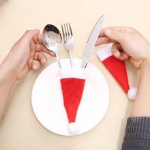 New 10PCS Christmas Caps Cutlery Holder Fork Spoon Pocket Christmas Decor Bag Ornament Tablewear Set Covers Christmas Supplies