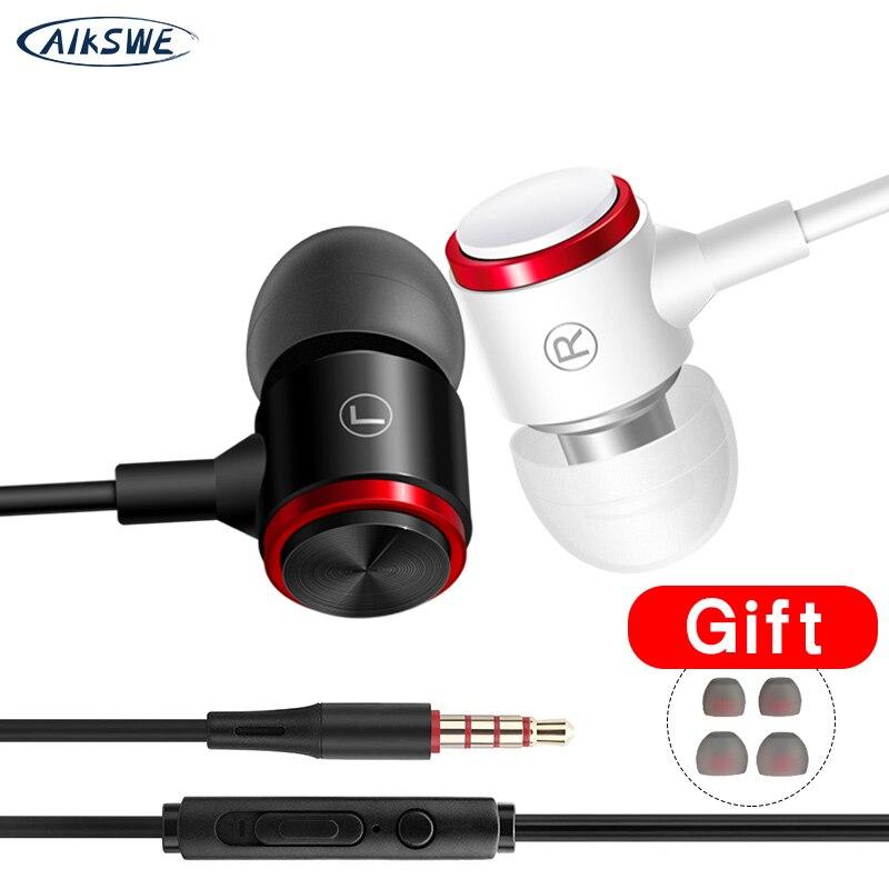 Auriculares internos con cable de 3,5mm, Sonido Envolvente de graves pesados con micrófono, auriculares HIFI, auriculares estéreo con Control de volumen, cómodos