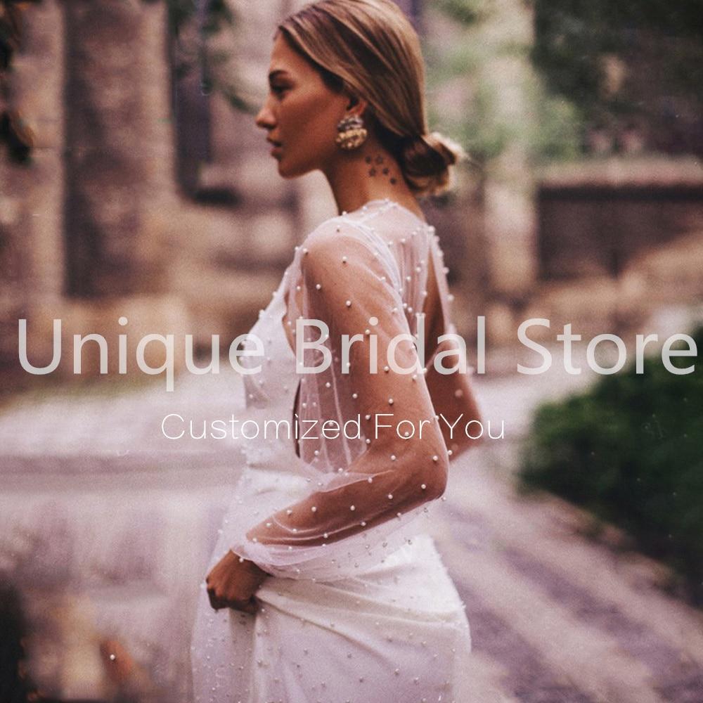Romantic Mermaid Illusion Wedding Dress V-Neck 2 In 1 Jacket Pearls Backless Court Train 2021 Bride Gowns Vestido De Noiva