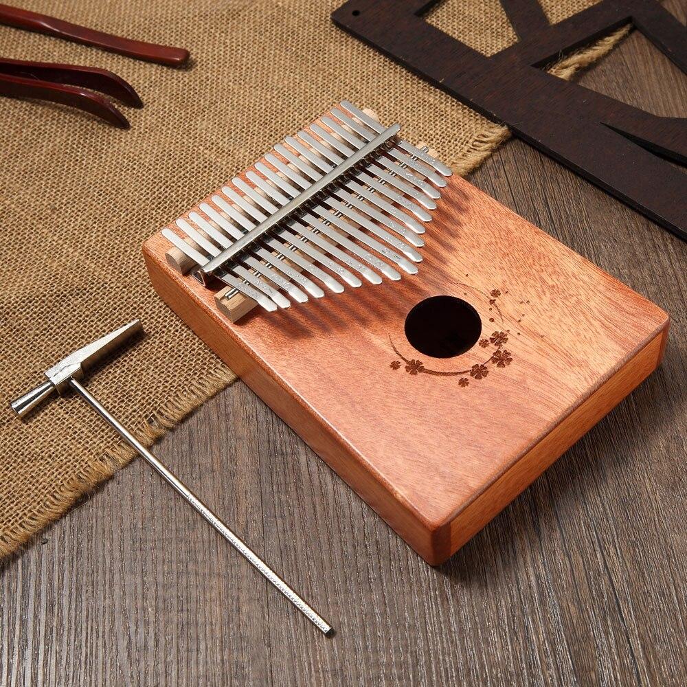 Bois de ton acajou 17 clés Kalimba Mbira avec marteau et livre de musique parfait pour les amateurs de musique débutants enfants cadeau de musique