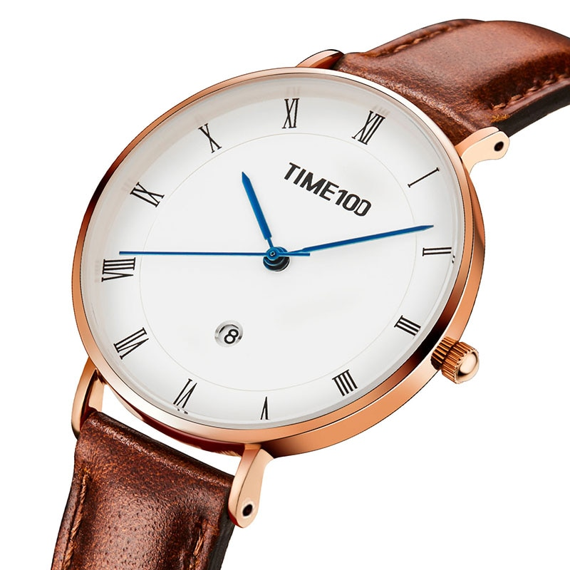 TIME100 Light Luxury Fashion Watch Simple Light Leather Belt Disc Calendar Ladies Watch Retro Wild Quartz Watch Female enlarge