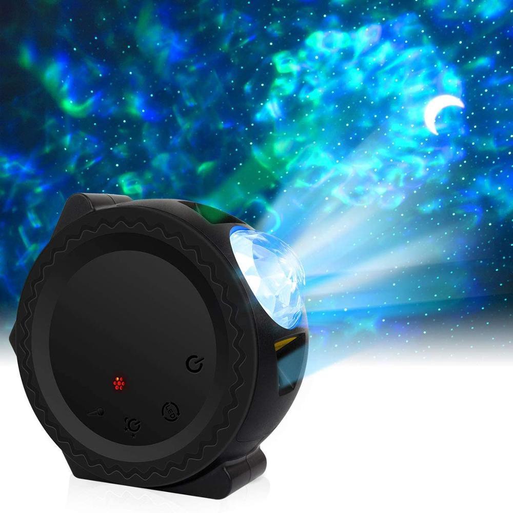 جهاز عرض LED مع صورة أمواج المحيط وسماء مرصعة بالنجوم للأطفال ، 3 في 1 ، 6 ألوان ، ليزر ، ضوء ليلي ، قمر ، مجرة ، مصباح ، موسيقى ، تحكم صوتي