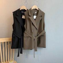 Mode coréenne femmes gilet veste Double boutonnage col rabattu ceintures femme gilet grande taille sans manches Cardigan décontracté