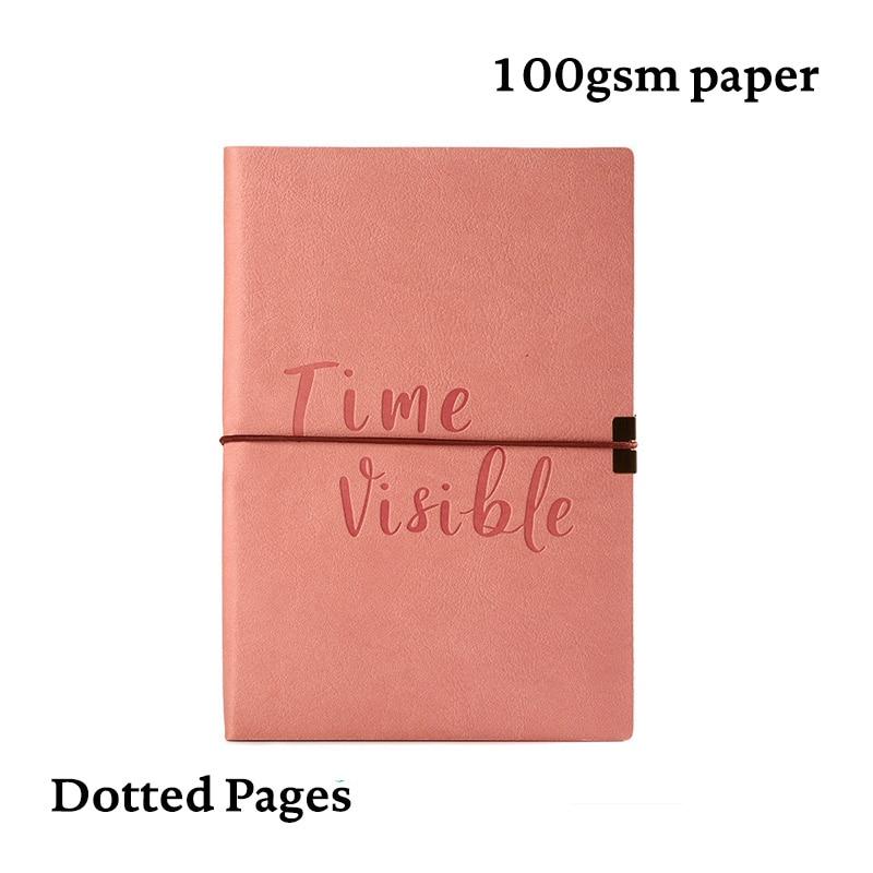 Diario de puntos de bala cuadrícula de punto cuaderno banda elástica suave cubierta Linda Bujo planificador diario de viaje