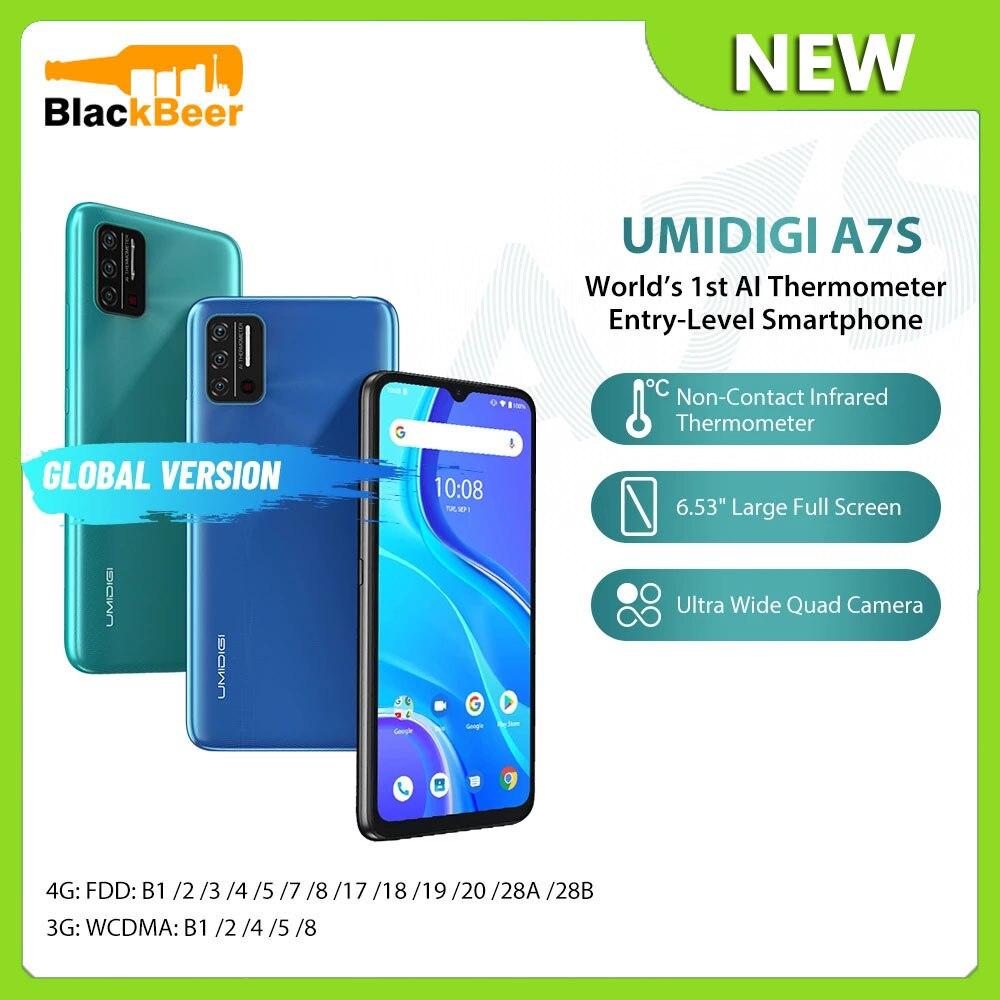 Перейти на Алиэкспресс и купить UMIDIGI A7S Android 10 Мобильный телефон четырехъядерный 2 ГБ 32 ГБ смартфон инфракрасный датчик температуры 4G мобильный телефон Тройная камера 4150 мАч