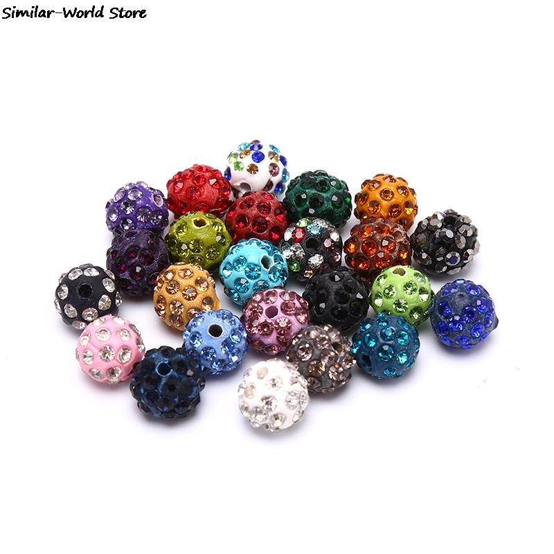 19 Colors 10pcs Crystal Clay Paved Crystal Bead Clay Micro Pave Rhinestone Ball Beads DIY For Jewelry Making