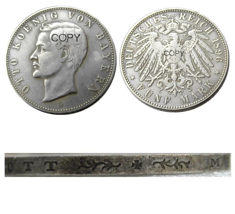 Немецкая монета bavery, серебряная монета с 5 метками, 1896D, Отто с серебряным покрытием, копии монет