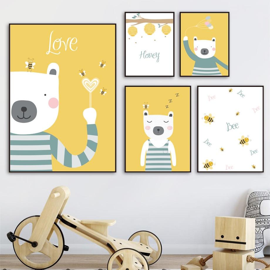 Arte da parede do urso de mel abelha crianças quarto nordic animais cartazes e cópias menino quadros parede para sala estar decoração da lona pintura