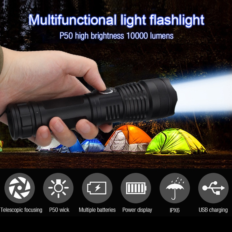 XHP50 Usb Rechargeable Flashlights 100000 Lumens Tactical Powerful Torches Lamp Sofirn Light 26650 Battery Flash Light Camping