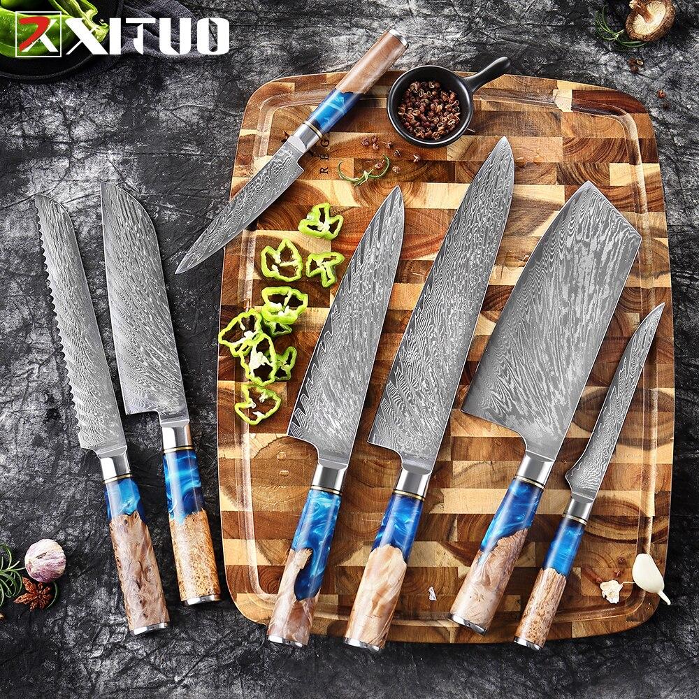 XITUO cuchillos de cocina-Set Damasco VG10 cuchillo de cocina de carnicero cuchillo de pelar pan de resina azul y herramienta de cocina de mango de madera de Color