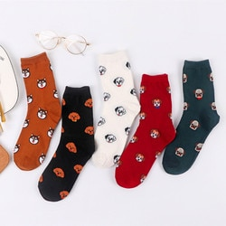 2019 neue Mode Kawai Cartoon Frauen Gekämmte Baumwolle Socken Mädchen Lustige Shiba Inu Hund Corgi Schöne Tier Muster Casual Socke