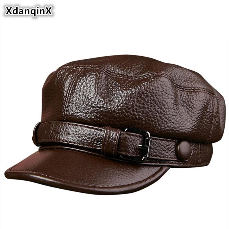 XdanqinX أنيقة سيدة جلد طبيعي القبعات جلد البقر جلدية الجيش العسكرية قبعة الرجال سقف مسطح جديد أزياء زوجين قبعات طالب قبعة