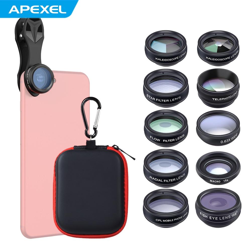 APEXEL 10in1 Kit de lentilles de téléphone 0.63X grand Angle + 15X Macro + 198 Fisheye + 2X téléobjectif + kaléidoscope 3/6 pour iPhone Smartphone Android