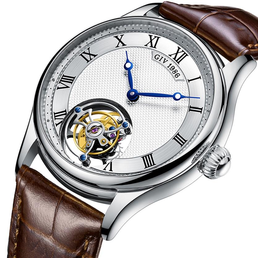 GIV Fashion Tourbillon Men Mechanical Wristwatches Watch for Men Skeleton Sapphire Waterproof 2021 L